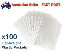 100 Pack A4 Sheet Protector Plastic Pockets Bulk Lot Clear Reinforced Folder NEW