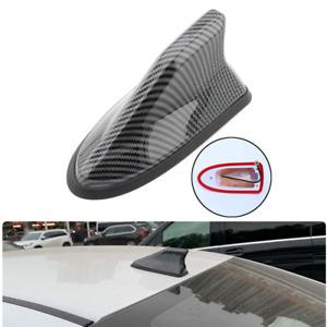 Car CarbonFiber Shark Fin Roof Antenna Amplifier Radio Signal FM/AM Aerial Cover
