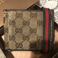 Gucci Beige Canvas Red Green Band Money  Clip Wallet
