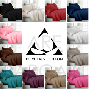 Extra Deep 40CM Fitted Bed Sheet 100% Egyptian Cotton Single Double King Sheets