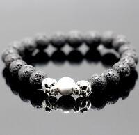 Mens Unisex Black Lava Rock Cool Skull Head Bead Elastic Bracelet Jewelry Gift