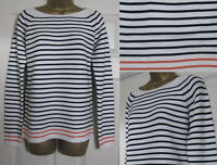 New Next Womens Ivory Navy Orange Striped Jumper Top Sweater Soft Knit 8-18