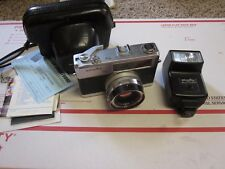 Minolta Hi-Matic 7S 7 S Camera &  Auto 25 Flash - Rokkor Lens Case and Paperwork