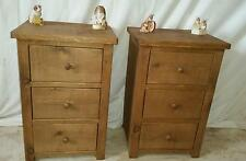 PAIR OF NEW SOLID REAL WOOD BEDSIDE CABINET CHESTS RUSTIC PLANK PINE FURNITURE