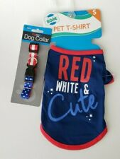 "Pet T Shirt SMALL ""Red White & Cute"" w/ Patriotic Collar"