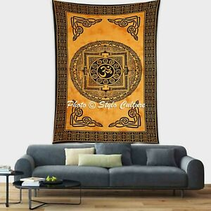 Indian Bohemian Single Size Bedding OM Tapestry Wall Hanging Dorm Decor Throw