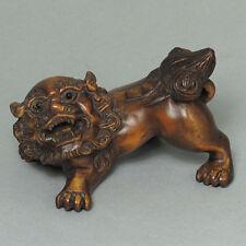 "1940's Japanese Master handmade Boxwood Netsuke ""FOO DOG LION"" Figurine Carving"