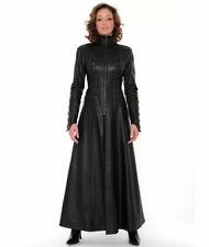 Real Leather Catsuit  MATRIX-COAT Long Zipper Sexy Dress Cat Suit Kinky Dress
