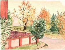 Fall street, trees. Water color. Russian vintage. USSR 1961 Bright picture