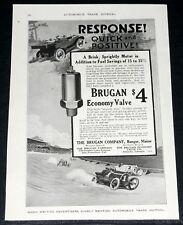 1917 OLD MAGAZINE PRINT AD, BRUGAN GAS SAVING ECONOMY VALVE, CAR RACING ART!