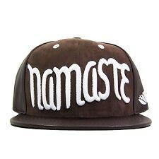 Eunoian Namaste Snapback Hat Brown Vintage Buddhist Aum Om Flower of Life Hindu