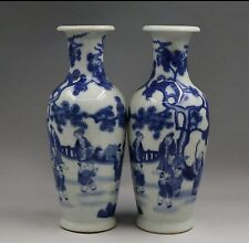 A pair of Chinese blue and white characters of the reign of emperor kangxi vases