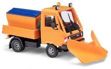 Busch 42222 - 1/87 / H0 Multicar Mit Spitzpflug & Streuaufsatz - Orange - Neu