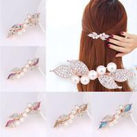 Vintage Pearl Crystal Rhinestone Leaf Hairpin Hair Clip Women Girls Accessories