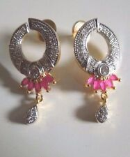 Indian Ethnic Bridal Party CZ AD Ruby Two Tone Gold Plated Wedding Earrings