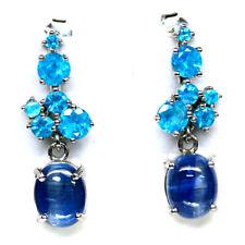 NATURAL BLUE KYANITE & APATITE EARRINGS 925 SILVER STERLING