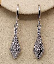 18K White Gold Filled - 1.5'' Rhombus Arrow Topaz Zircon Hoop Women Earrings