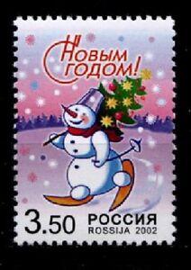 Neujahr 2003. Schneeschuhlaufender Schneemann. 1W. Rußland 2002