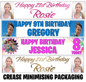 2x Personalised Photo Banners Birthday Party Christening Wedding Name Age