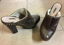 Miu Miu used Brown fur High heels wood platform clogs  EU39 UK6 US 8,5