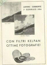 Listino Prezzi Filtri Kelpan Fotografia 1954