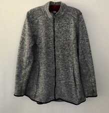RBX Men's Jacket Mock Neck Black & White Tweed Pattern Full Zip Size 3XLG