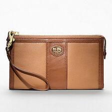 NWT COACH Sutton Leather Zippy Wallet/Wristlet 47108 - Carmel/Saddle