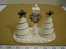 Russ Berrie Christmas Snowlit Settings Salt & Pepper Tree Set #33209 - EUC