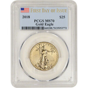 2018 American Gold Eagle 1/2 oz $25 - PCGS MS70 First Day of Issue Label