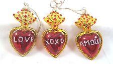 Valentine Red Heart Glass Ornaments Set of 3 Love Amour XoXo Glitter
