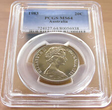 1983 - Australia - Type I, 1983 Twenty Cent PCGS Slabbed Coin - MS64
