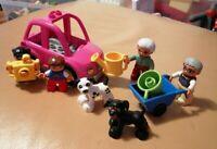 LEGO DUPLO FAMILY SET GRANDMA GRANDPA GRANDCHILDREN CAR & ACCESSORIES LOVELY
