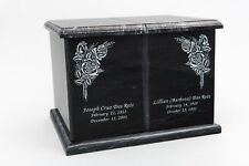 Extra Large 420 Cubic Inches Black Natural Marble Companion Cremation Urn