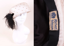 Vintage 1960's Herbert Johnson Off White Turban Cocktail Hat with Black Feather