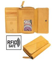 Crumble Womens Mustard Yellow Large trifold Leather Purse Wallet RFID Blocking