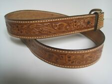 "Tooled tan leather western belt 1 1/2""wide 45"" long"