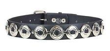 """Concho Strap Genuine Leather Belt 1 1/2"""" Concho Punk Goth Rockabilly"""