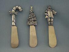 Christmas Holiday Cheese Butter Spreaders Silver Santa Tree Candy Cane Stainless