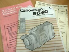 Canon Video MANUAL INSTRUCT Canovision E640 Camcorder camera English Canonvision