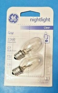 GE Night Light Bulb Standard, 4 Watt, Clear C7 2000 hour life New 2 Pack