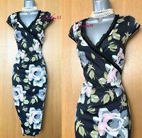 Size 10 KAREN MILLEN Black Floral Rose Print Satin Wrap Top Hourglass Dress EU38