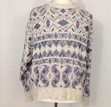 Vintage Orvis Mens Fisherman Sweater Size XL Grandpa Cosby Cotton Diamond Knit