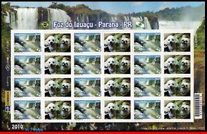 3133 BRAZIL 2010 FOZ DO IGUACU, WATERFALLS, NATURE, DOGS, RHM C-2996, SHEET MNH