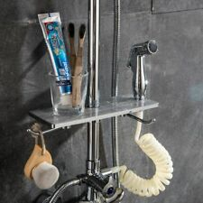 Bathroom Shelf Shampoo Storage Rack Tray Shelves Shower Head Holder Bath Silver