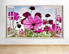 A046 Naturaleza flores del rosa de la  pegatina pared vinilo 3d habitación niños