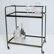 Industrial Metal & Glass Drinks Trolley, Rhu Gunmetal Grey Bar Cart on Wheels