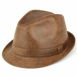 Hat Trilby Brown Vintage Effect Cracked Leather Vegan