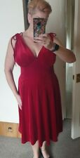 Stunning Red Velvet Dress Size 18 By Hell Bunny
