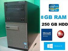 Dell Optiplex 390 Tower Core i3 DVD RW WIFI HDMI Windows 10 8GB RAM 250GB Hard