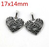 Tibetan Silver Charms Heart-shaped fashion Jewelry Crafts Pendant 100pcs